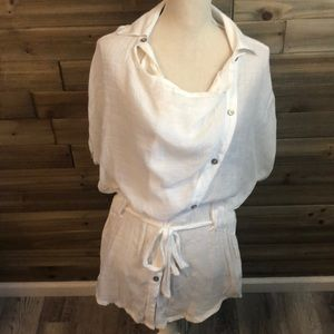 ❤️Mystree Sheer White Tunic or Coverup Size L❤️
